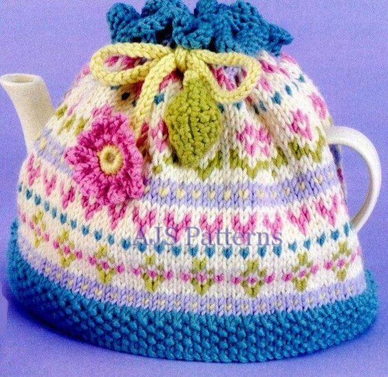 Pretty Fair Isle Aran Tea Cosy knitting pattern Pdf USD4.02 on Etsy at http://w...