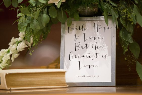 """Modern calligraphy bible verse + love quote sign - """"Faith, hope & love - but the greatest is love""""  {Erica Hasenjager Photography}"""