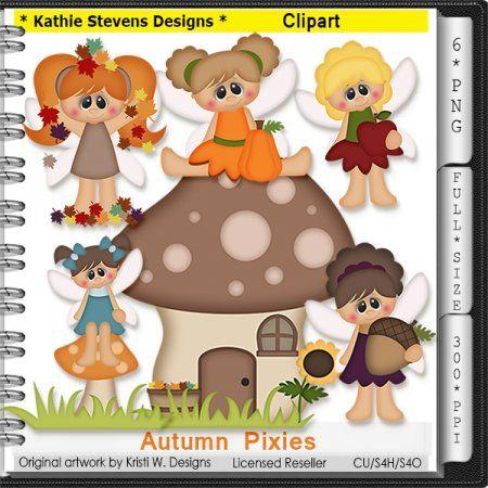 Autumn Pixies Clipart - CU