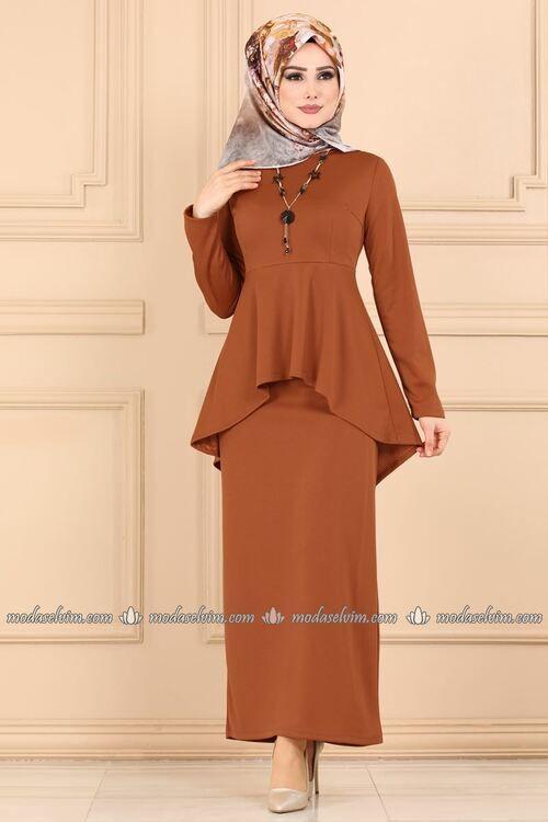 Modaselvim Kombin Peplum Bluzlu Kombin 3214pm271 Kiremit Giyim The Dress Tarz Elbiseler