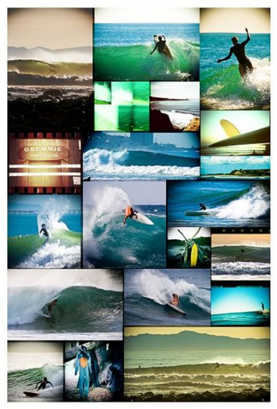 Surf Guy Themed Collage Wall Mural