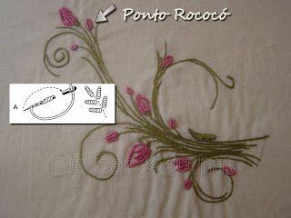 Cia das Agulhas: Mais Pontos do Bordado da Vovó: Bordados Especiales, Embroidery Embroidery, Bordado 2, Rococo Bordados, Bordados Embroidery, Points, Embroidery