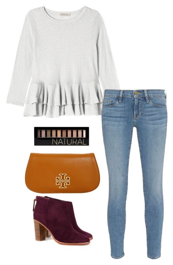 """maroon booties"" by kcunningham1 ❤ liked on Polyvore featuring moda, Rebecca Taylor, Frame Denim, Ted Baker, Tory Burch, Forever 21, women's clothing, women's fashion, women y female"