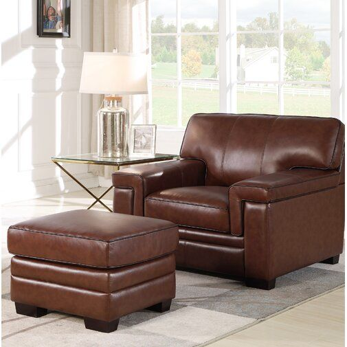 Cabott Armchair And Ottoman Furniture Top Grain Leather Chairs Ottoman Set