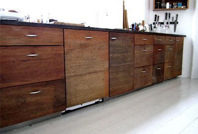 Cabinet doors made from old school tables.