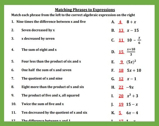 Translating Algebraic Expressions Matching Activity With Images