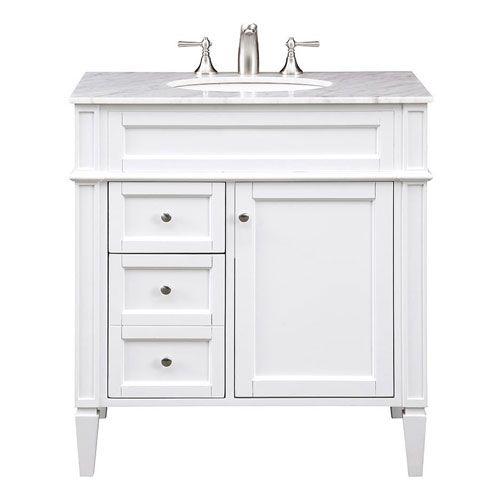 Elegant Lighting Park Ave White 32 Inch Vanity Sink Set Vf 1024 Bellacor Single Bathroom Vanity Vanity Sink Vanity Bathroom vanity 32 inches wide