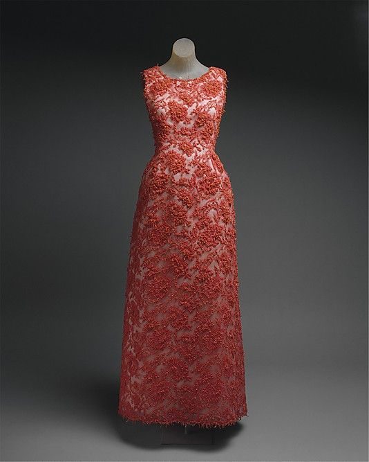 Dress, Evening  House of Givenchy  (French, founded 1952)    Designer:      Hubert de Givenchy (French, born Beauvais, 1927)  Date:      1963  Culture:      French  Medium:      cotton, glass, coral  Dimensions:      [no dimensions available]  Credit Line:      Gift of Mrs. John Hay Whitney, 1974  Accession Number:      1974.184.2    This artwork is not on display