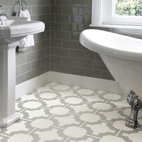 Neisha Crosland vinyl flooring Harvey Maria  Celtic floor pattern in a bathroom