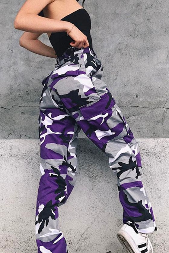 a7b1fb6d0c09e Womens Camo Cargo Trousers Casual Pants Military Army Combat Camouflage  Jeans