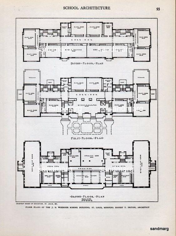 1935 Architectural Print Woerner School Building St Louis Missouri.
