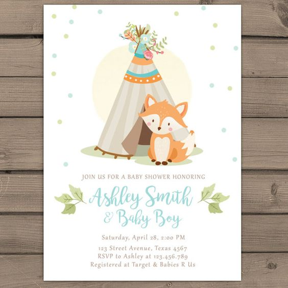 woodland baby shower invitation boy baby shower invitation fox, Baby shower invitations
