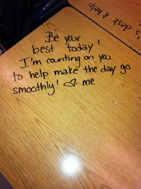 Notes on desks using dry erase markers!  Will have to try this :)