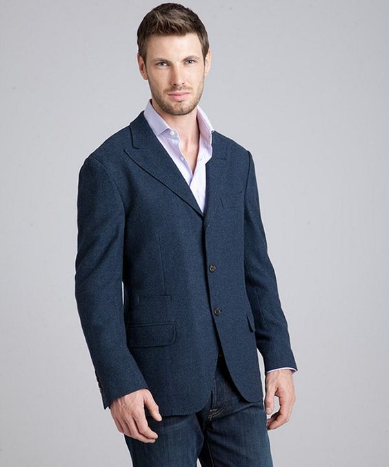 Navy Cashmere-Wool Twill 3-Button Blazer #Blazer #Men #Outerwear