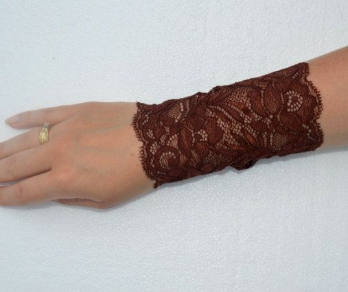 Lace Brown Bracelet Lace Brown Wrist Cuff Brown Stretch by Sizana
