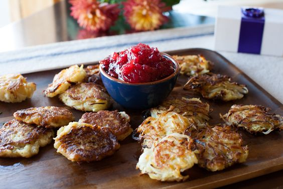 Thanksgivukkah Recipe: Sweet Potato Latkes With Cranberry-Apple Sauce