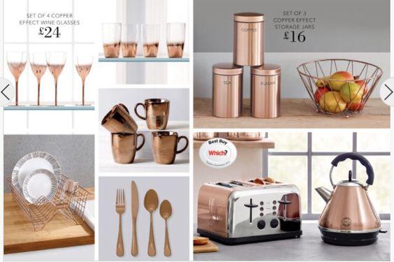 Copper kitchen accessories from Next