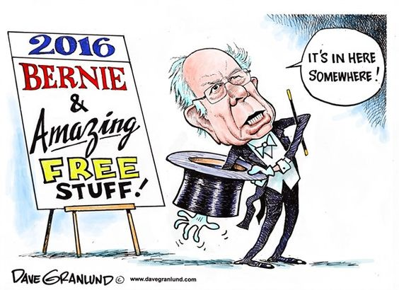 Dave Granlund - Politicalcartoons.com - Bernie 2016 and free stuff - English - free tuition, free stuff, campaign, sanders, Bernie sanders, socialist, democrat, polls, promises, political, politics, young, followers, reality, vt, primary, caucus, caucuses, primaries