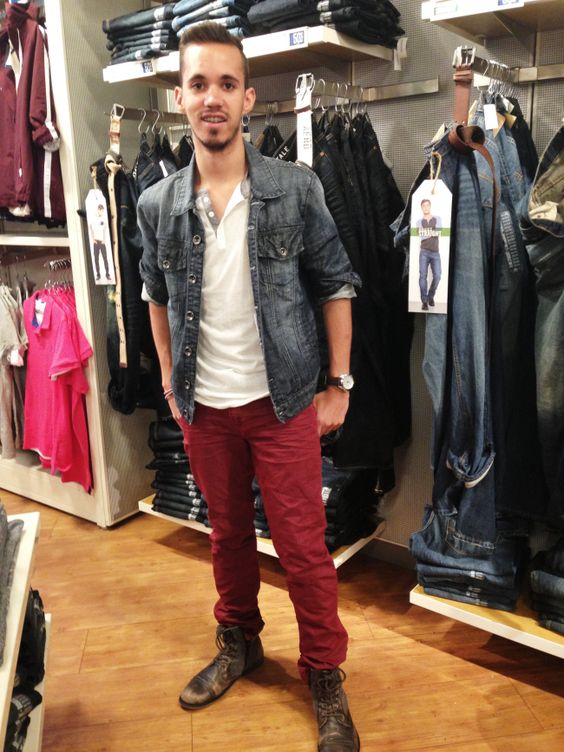 Colored Jeans + Denim Jacket + Henley + Boots