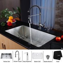 """Kraus  32"""" Undermount Single Bowl 16 Gauge Stainless Steel Kitchen Sink with KPF-1612 Kitchen Faucet and KSD-30 Soap Dispenser at FaucetDirect.com."""