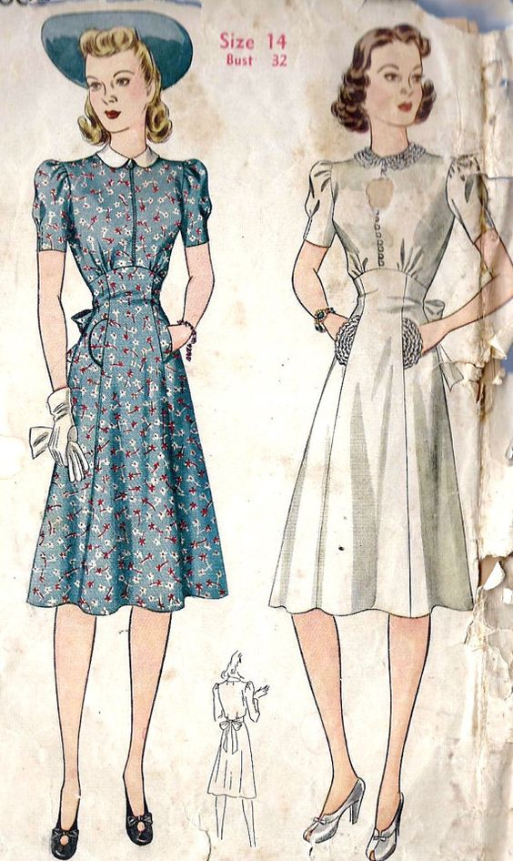 1940s Misses Short Sleeve Dress: