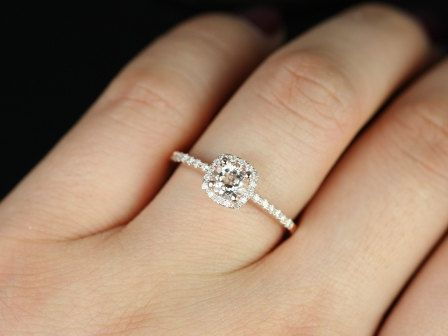 Ultra Petite Size Version 10kt Rose Gold Thin Morganite Cushion Halo Engagement Ring (Other Metals and Stone Options Available). $530.00, via Etsy.