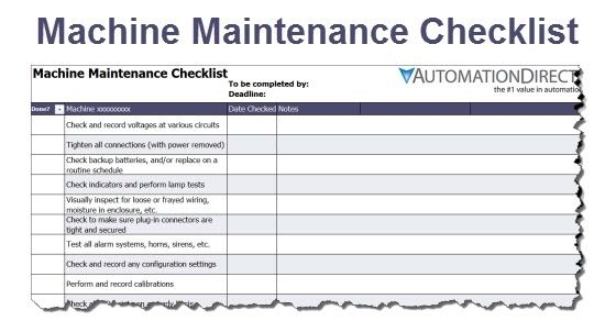 Machine Maintenance Checklist Library Automationdirect Maintenance Checklist Checklist Template Schedule Template