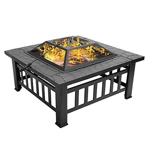Bonnlo 32 Fire Pit Outdoor Wood Burning Table Backyard Terrace Patio Camping Includes Mesh Spark Screen Top And Poker Fire Pit Patio Outdoor Fire Pit Wood Burning Fire Pit