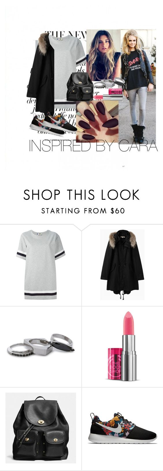 """""""Inspired by Cara Delevigne"""" by wayfaring ❤ liked on Polyvore featuring MSGM, Le Bac by united bamboo, Iosselliani, Coach and NIKE"""
