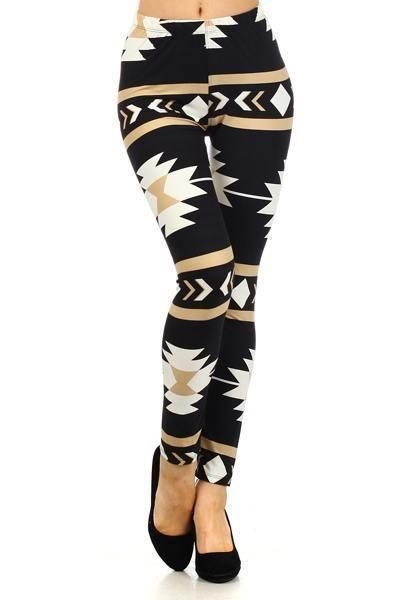 Aztec Sexy Tribal Tight Ankle Pants MULTICOLORED PRINTED BLACK LEGGINGS #BoutiqueCollection