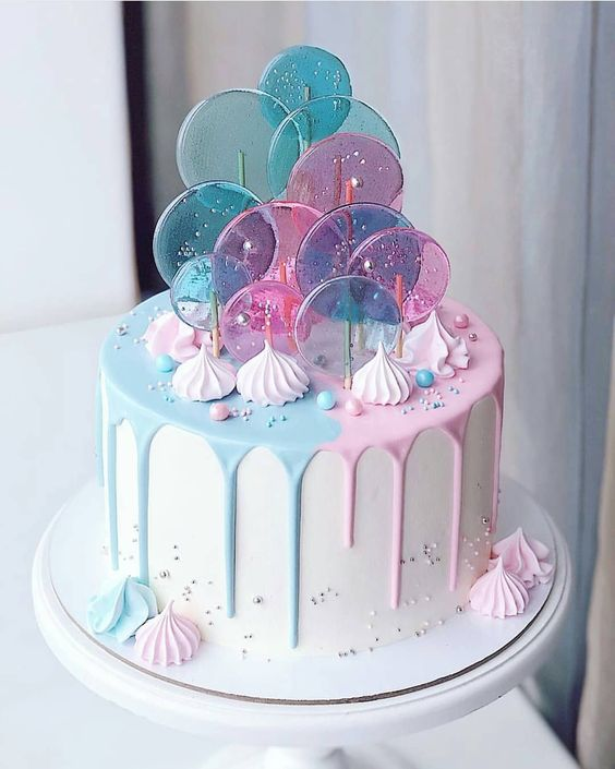 pink and blue candy melt cake with sprinkles