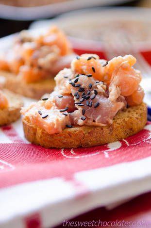 Tartar de salmón y atún con jengibre y lima
