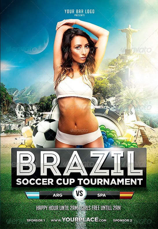Brazil World Cup Tournament Flyer Template -    wwwffflyer - football flyer template