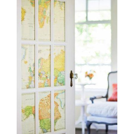LOVE this idea! It's like stepping into a whole new world, ready for adventure. -- Home Decor Map DIY Projects - The Cottage Market