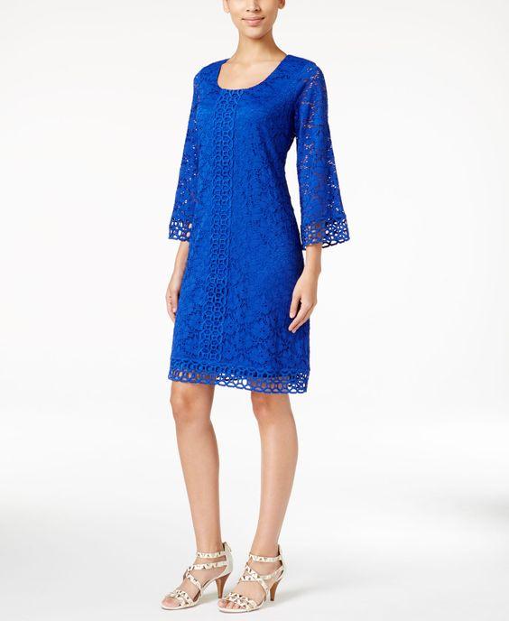 Alfani Crochet-Lace Shift Dress, Only at Macy's