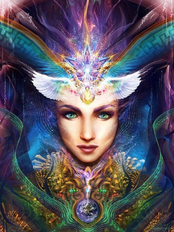 """""""There is hope if people will begin to awaken that spiritual part of themselves, that heartfelt knowledge that we are caretakers of this planet."""" Brooke Medicine Eagle - Art: """"Feminine Medicine"""" by Olivia Curry:"""