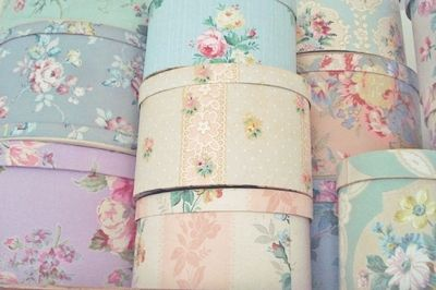 vintage wallpaper covered boxes