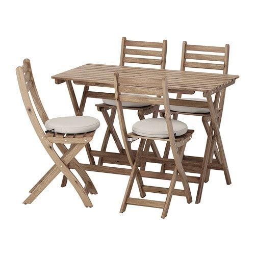 Askholmen Table 4 Chaises Pliantes Exterieur Teinte Gris Brun