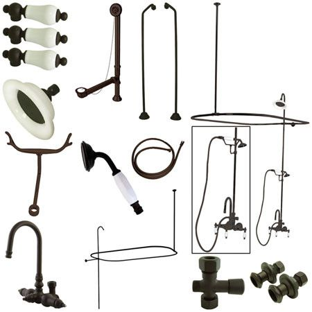 Kingston Brass Vintage High Rise Gooseneck Clawfoot Tub and Shower Package with Porcelain Lever Handles, Oil Rubbed Bronze