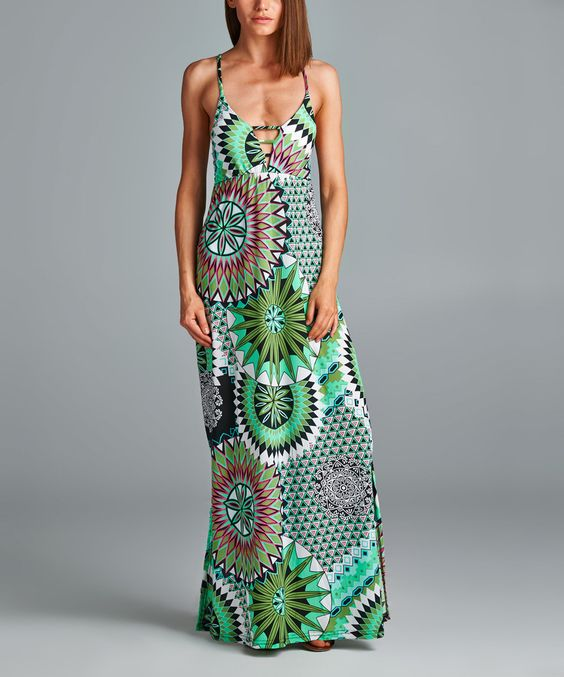 California Women Green Sunburst Maxi Dress - Women by California Women #zulily #zulilyfinds