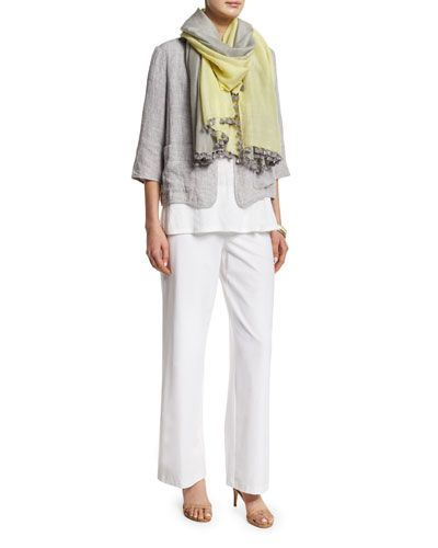 -6CQV Eileen Fisher  Wide-Leg Stretch-Crepe Pants, White, Women's  Double-Face Linen-Blend Jacket, Women's Slub Organic Linen Jersey Long Tank, Women's