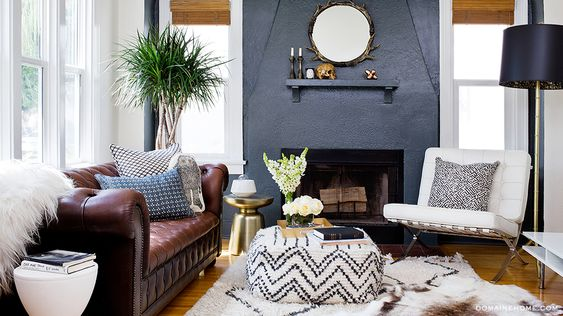 Fashion Toast's Rumi Neely Invites Us Into Her Hip LA Home // Leather couch and gold skull