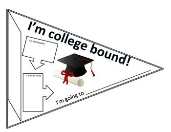 This simple pennant allows students to map out their interests and select a school of higher learning. Students fill in their name down the left side and an area they are interested in. This interest leads to a field of study, then finally, to a college choice.