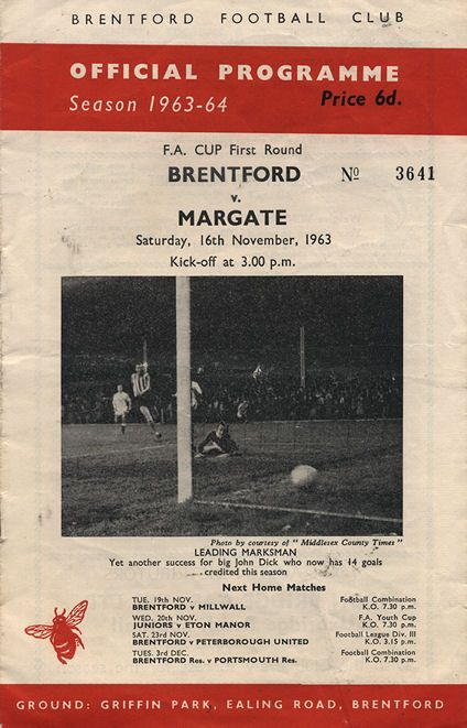 Brentford v Margate football programme from 1963. Final score 2-2. Brentford won the replay 4 days later 2-0.