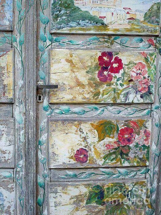 Vintage painted flower door