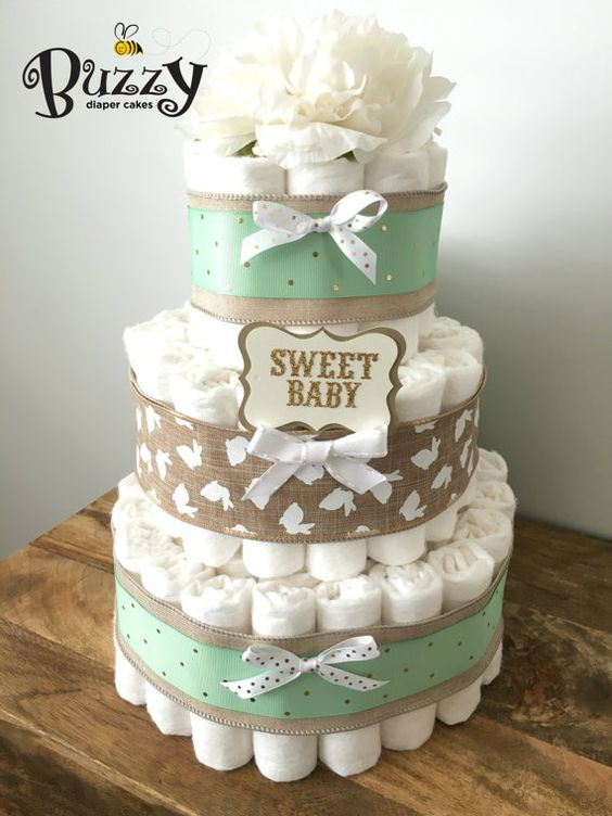 Bunny Burlap And Mint Green 3 Tier Diaper Cake For Gender