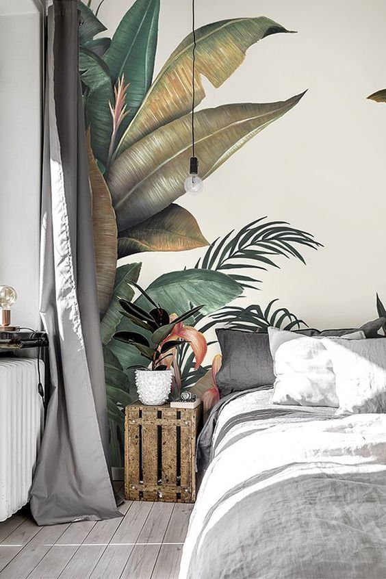 Tropical Wallpaper designed by Lemon. Urban jungle palm prints are hot right now for interiors and home decor. Let our Tropical wallpaper brings the very in-vogue tropical style to your home! #photowallsweden #tropical #tapet #wallmural #wallpaper  #designed #jungle #lemon #prints #Tropical #urban #wallpaper