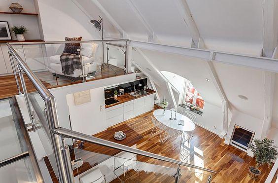 Einrichtungsideen Dachschrägen: Ein Appartement in Stockholm