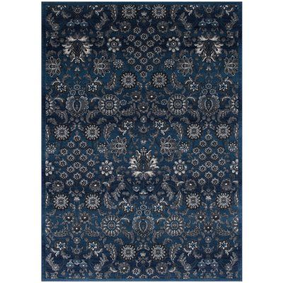 Bungalow Rose Gibbs Floral 8 X 10 Thunder Blue Area Rug Wayfair Blue Area Purple Area Rugs Area Rugs