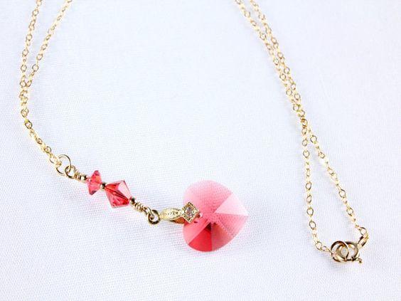 Valentines Swarovski Heart Necklace by NancysCrystalFantasy